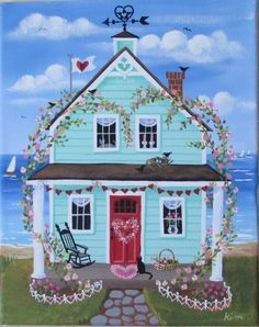 This 10 x 8 print from my original painting Hearts and Flowers Cottage is printed on 80lb acid free, archival paper. It is printed with ink that