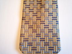 Vintage 100% silk mens tie made by Jones New York, color lt blue, med blue, tan, geometric, business suit accessory, gift, (T-117) design by RubyjulsVintage on Etsy