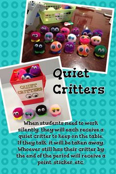 I'm SO making these! Quiet critters for the classroom. Thank you Pinterest!