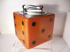 "Large 2"" Bakelite Dice Table Lighter. Vintage Catalin Bakelite 1940s."