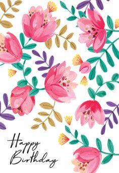 Gouache floral - Happy Birthday Card  #greetingcards #printable #diy #birthday