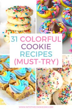 Check out these colorful cookie recipes, perfect for making colorful cookies for birthday parties, cookies with sprinkles, funfetti cookies, and so much more. These easy cookie recipes to make with kids are fun, colorful, and some of the best cookie recipes ever. Popular Cookie Recipe, Cookie Recipes For Kids, Best Cookie Recipes, Easy Cake Recipes, Sweet Recipes, Dessert Recipes, Bar Recipes, Colorful Cookies Recipe, Sugar Cookies Recipe