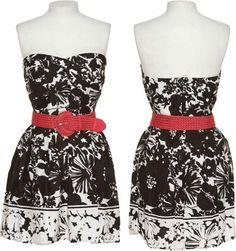 15DOLLARSTORE.COM - TRIXXI Black & White Floral Dress W/ Braided Belt