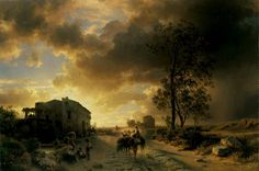 Campagna landscape with storm clouds, Oswald Achenbach. Germany (1827 - 1905)