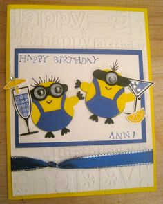 Birthday Partying Minion Card from Despicable Me Movie Stampin' Up Owl Punch / Happy Hour