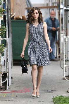 Go gingham or go home -- like Emmy Rossum in her cool and casual dress for warm spring days