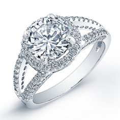 1.3 Carat round cut diamond engagement ring & band SI H (GRA) - BeverlyDiamonds.com