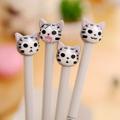 0.5mm Cute Cartoon Cat Plastic Gel Pens Lovely Kawaii Pen Novelty Item Korean Stationery School Supplies Free Shipping 2142