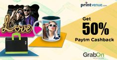 Printvenue Sitewide Offer: Flat 50% Cashback on minimum of Rs 299 and above across the site. Grab Now!  #PrintvenueCoupons #PaytmOffers #Cashback #GrabOn