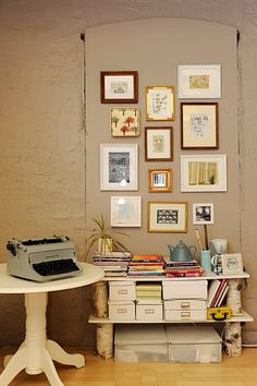 Picture wall - I have a lot of art work to be framed.  This is a great idea to display it!