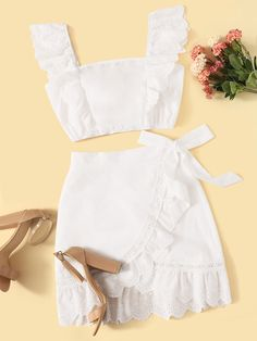 To find out about the Embroidery Eyelet Ruffle Shirred Top & Wrap Skirt Set at SHEIN, part of our latest Two-piece Outfits ready to shop online today! Girls Fashion Clothes, Teen Fashion Outfits, Girly Outfits, Cute Casual Outfits, Girl Fashion, Summer Outfits, Fashion Dresses, Crop Top Outfits, Skirt Outfits