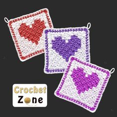 Ideas Crochet Heart Washcloth Pattern For 2019 Crochet C2c, Crochet Potholders, All Free Crochet, Crochet Squares, Crochet Gifts, Crochet Patterns, Cloth Patterns, Washcloth Crochet, Knit Dishcloth