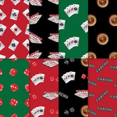 Casino Theme Paper - Black + Red + Green 2 - casino paper, printable casino paper, digital casino paper, casino scrapbook paper