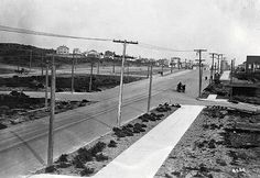 Looking east at the intersection of Geary and 43rd in 1917. Horse and buggy travel was still common at the time. To the left of Geary is Point Lobos.