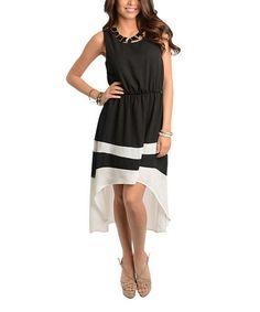 Look at this #zulilyfind! Black & White Color Block Hi-Low Dress #zulilyfinds