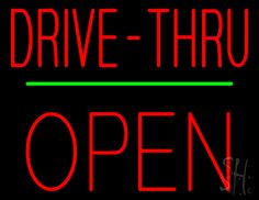 Red Drive-Thru Block Open Green Line Neon Sign 24 Tall x 31 Wide x 3 Deep, is 100% Handcrafted with Real Glass Tube Neon Sign. !!! Made in USA !!!  Colors on the sign are Green and Red. Red Drive-Thru Block Open Green Line Neon Sign is high impact, eye catching, real glass tube neon sign. This characteristic glow can attract customers like nothing else, virtually burning your identity into the minds of potential and future customers.