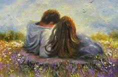 Romantic art - loving couple original oil painting lovers in spring art spring love hugging kissing romantic vickie wade art Couple Painting, Couple Art, Love Painting, Poetry Painting, Romantic Paintings, Beautiful Paintings, Art And Illustration, Spring Art, Love Art