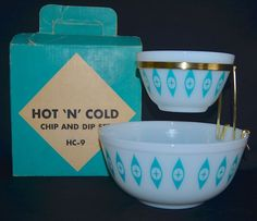 Corning PYREX Atomic Cat Eye HC-9 HOT N COLD CHIP & DIP bowl Set Aqua & White NR #CORNINGPYREX