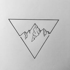 Idea of a mountain range inside a triangle with a line division at the bottom Source by buhsimorgenstei illustration Doodle Drawings, Easy Drawings, Doodle Art, Drawing Sketches, Tattoo Drawings, Sketch Art, Drawing Ideas, Tattoo Muster, Gargoyle Tattoo