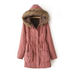 Ladies Winter Coat Parka Warm Long Jacket Thick Collar Hood Overcoat Outwear