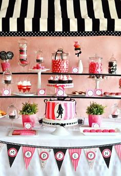 Red and black parisian Candy Bar scheme - plenty of sweets to match Red and blacks, red lips, black jacks, red and black liquorice sticks, strawbs, cherries,