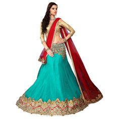 Ethnic Wear Net Light Green Lehenga Choli - MANNAT5205