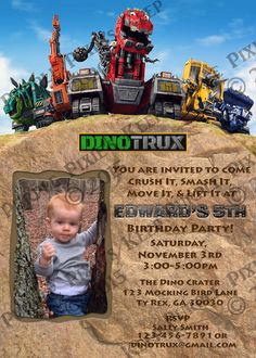 DinoTrux Birthday Invitation - Choose from 2 Designs!! by PurplePixiesKeep on Etsy https://www.etsy.com/listing/244881567/dinotrux-birthday-invitation-choose-from