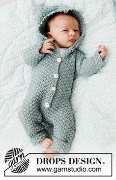 Truly Wooly - Knitted suit for baby in DROPS Merino Extra Fine. Piece is knitted with textured pattern and hood. Size premature - 4 years Free knitted pattern DROPS Baby 33-8