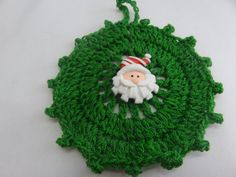 Christmas Ornament Crochet Green Ornament  Santa by toppytoppy, $7.00