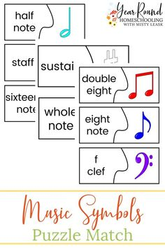 Your kids will have fun learning to recognize symbols that they use during your homeschool music class by using these Music Symbols Puzzles. #MusicSymbols #MusicPuzzles #Music #Homeschool #Homeschooling #YearRoundHomeschooling #Printable Music Class, Music Education, Piano Lessons, Music Lessons, Free Homeschool Curriculum, Homeschooling Resources, Benefits Of Homeschooling, Music Symbols, Teaching Music
