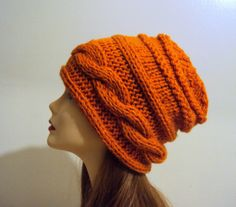 WOMENS KNIT HAT Slouchy Beanie Knit Slouch Cabled Cinnamon Orange Winter Hat Chunky Hat Women Winter Accessories Gift Ideas Under 50