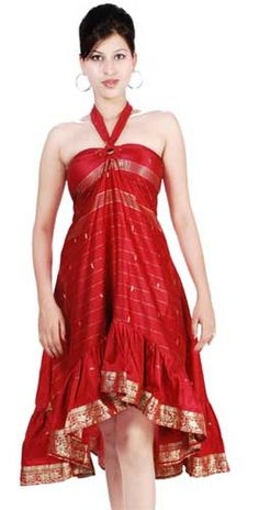 cute sari dress, Make a dress from saree, sari dresses in India, Learn how to wear a dress made of saree.