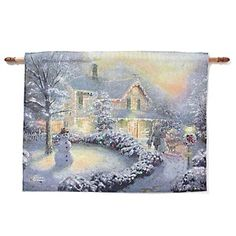 Thomas Kinkade Wall Hanging Tapestry - Heart of Christmas/Home Is Where the Heart Is at HSN.com.