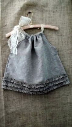 Bayou Boho Baby... vintage inspired biscuit linen rustic ruffle pillow case dress fits a 12M baby from down de bayou