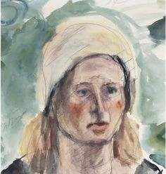 Portrait Of A Woman Wearing A Scarf, George Bouzianis Fine Art, Painter, Art Database, Female Portraits, Greek Art, Visual Art, Art, Color Of Life, Portrait