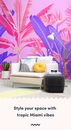 Feel like you're walking the streets of Miami, or a tropical haven with this pink and purple tropical jungle wallpaper. Art Deco Wallpaper, Trippy Wallpaper, Tropical Wallpaper, Mood Wallpaper, Beach Wallpaper, Pink Wallpaper, Taro Plant, Bright Walls, Pink Home Decor