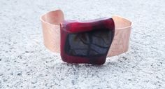 Copper Fused Glass Bracelet Cuff/ Red and Black by FancyThatFusion, $32.00