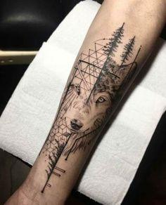 Ideas Tattoo Small Geometric Animal tattoo designs ideas männer männer ideen old school quotes sketches Wolf Tattoo Back, Small Wolf Tattoo, Wolf Tattoo Sleeve, Wolf Tattoos, Nature Tattoos, Forearm Tattoos, Animal Tattoos, Body Art Tattoos, Sleeve Tattoos