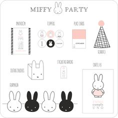Image of MIFFY PARTY Bunny Birthday, Diy Birthday, 4th Birthday Parties, Birthday Party Decorations, Miffy Cake, Bebe 1 An, Bunny Party, Diy Ostern, Fiesta Party