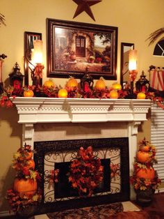 Attractice Mantel Design And Decoration Ideas For This Fall - Mantel decorating ideas that compliment the fireplace might very well be the focal point of your room. If you have a fireplace, the mantel will be a d. Harvest Decorations, Fall Mantel Decorations, Seasonal Decor, Holiday Decor, Mantal Decor, Mantel Ideas, Fall Home Decor, Autumn Home, Fall Fireplace Decor