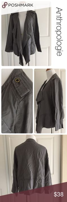 NWOT Anthropologie linen blend jacket size M ♦️By  Daughters of the Liberation for Anthropologie.                                                    ♦️ Excellent condition. No stains, holes or piling . ♦️materials- 55 linen/45 rayon ♦️Measurements: ♦️Underarm to underarm flat across is approximately 21 inches     ♦️Back of neck to bottom of back  hem is approximately 22 inches Anthropologie Jackets & Coats Utility Jackets