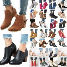 Stiefeletten Blockabsatz Kunstleder Damenschuhe Slipper Gr.45 Ankle Boots Pumps