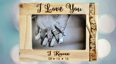 Star Wars I Love You/I Know Rustic Picture Frame  Holds a 4x6 photo  Text is engraved on a wooden picture frames.  Includes glass to protect the photo and wooden dowel for standing.  Engrave ANYTHING at the top & bottom of the picture frame.  After payment is made, please include your engraving instructions.  Engraving on top:  Engraving on bottom:  Please leave names and date in the Note to Seller at checkout or message me on Etsy. Names and dates will be written exactly as request...