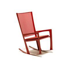 Rocking chair CORNELIA, in white, graphite, glossy red embossed steel. Chaise à bascule CORNELIA en acier gaufré verni blanc, graphite ou rouge brillante. Usage aussi à l'extérieur. Designed by CATTELAN ITALIA