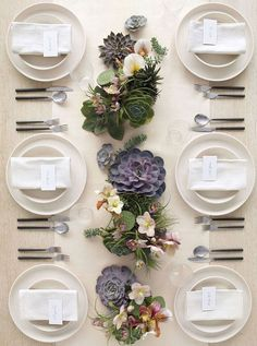 White linens and china, dark silveware and succulent and floral centerpieces for a natural contemporary table for dinner party or wedding. How to Host a Magazine-Worthy Dinner Party via Succulent Centerpieces, Wedding Centerpieces, Wedding Table, Centerpiece Ideas, Wedding Decorations, Succulent Table Decor, Masquerade Centerpieces, Succulent Display, Wedding Reception