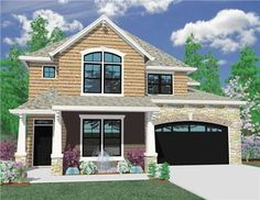 This remarkable Craftsman style home with European influences (House Plan #149-1002) has over 3640 square feet of living space. The two story floor plan includes 4 bedrooms. (M-3644)