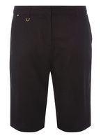 Womens Black Linen Knee Shorts- Black