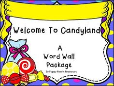 """This is an amazingly cute word wall package in a candy-land theme. The """"Word Wall Banner"""" is created to mimic the sugar shack awning and will highlight your high frequency word wall. The letter header are designed as bunting banners with colorful candy themed backgrounds with a ribbon sash,Contents:Word Wall Awning Banner26 small letter bunting banner cards for small spaces.26 large letter bunting banner pieces Wall Banner, Bunting Banner, Content Words, Candy Land Theme, Cute Words, High Frequency Words, Thing 1, Small Letters, Colorful Candy"""