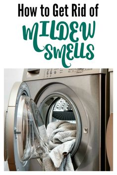 How to Get Rid of Mildew Smells in the Laundry - I forgot a load of towels in the laundry and they stunk! But this gets the stink out for REAL! #laundry #mildew #smells #laundryhack