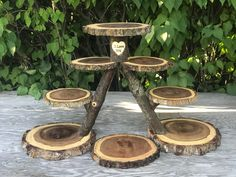 Perfect Union Wood Burned Rustic Cake Cupcakes Pie Stand Wedding party shower wooden 8 tiered, lumberjack party, boho, wild things are Perfekte Union Holz verbrannt rustikale Kuchen Cupcakes Tortenständer Cupcake Stand Wedding, Cake And Cupcake Stand, Rustic Cupcakes, Rustic Cake, Rustic Cupcake Stands, Rustic Wood, Diy Wood, Wood Cake, Lumberjack Party